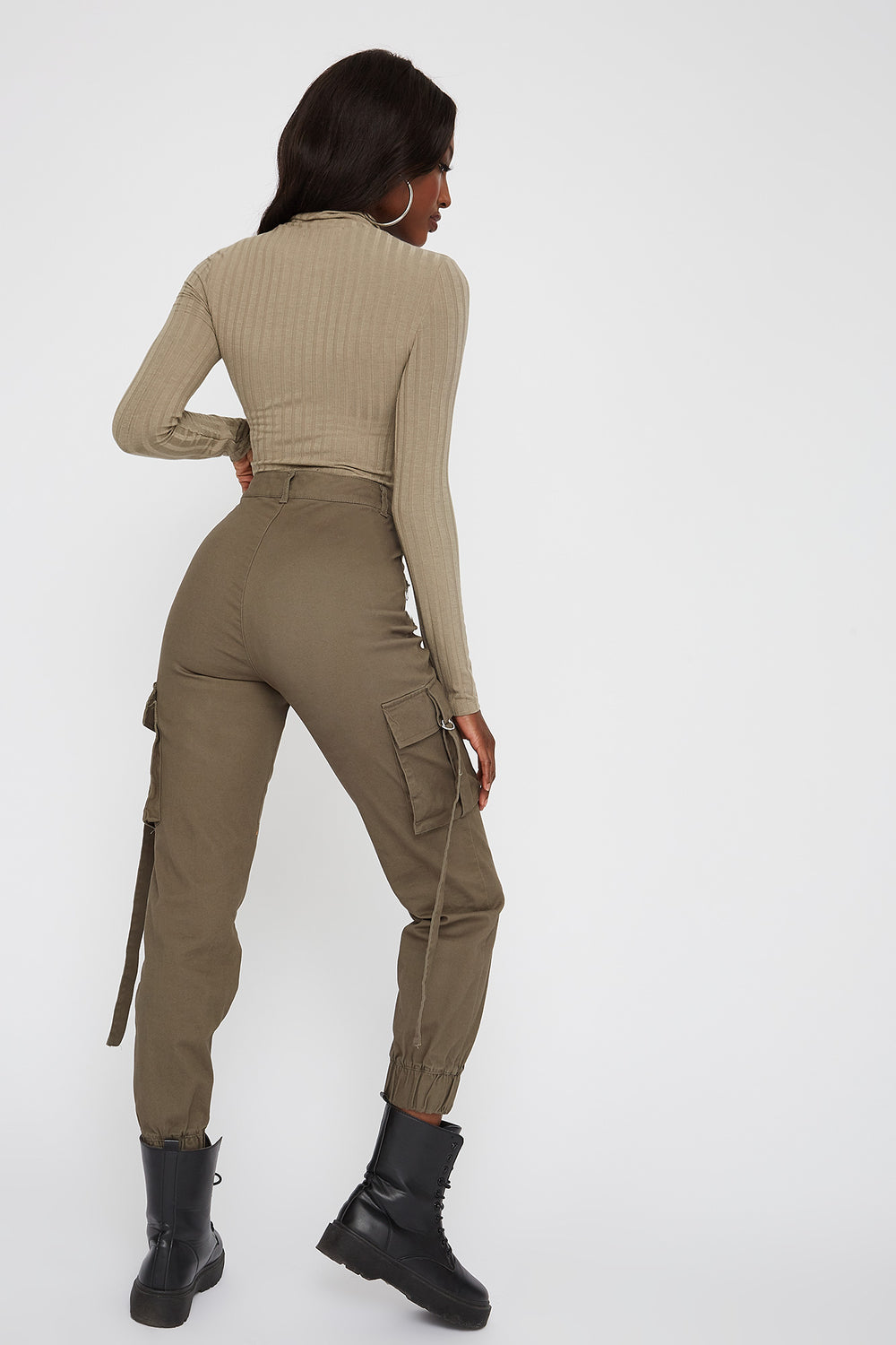 Ribbed Zip Mock Neck Long Sleeve Bodysuit Jade