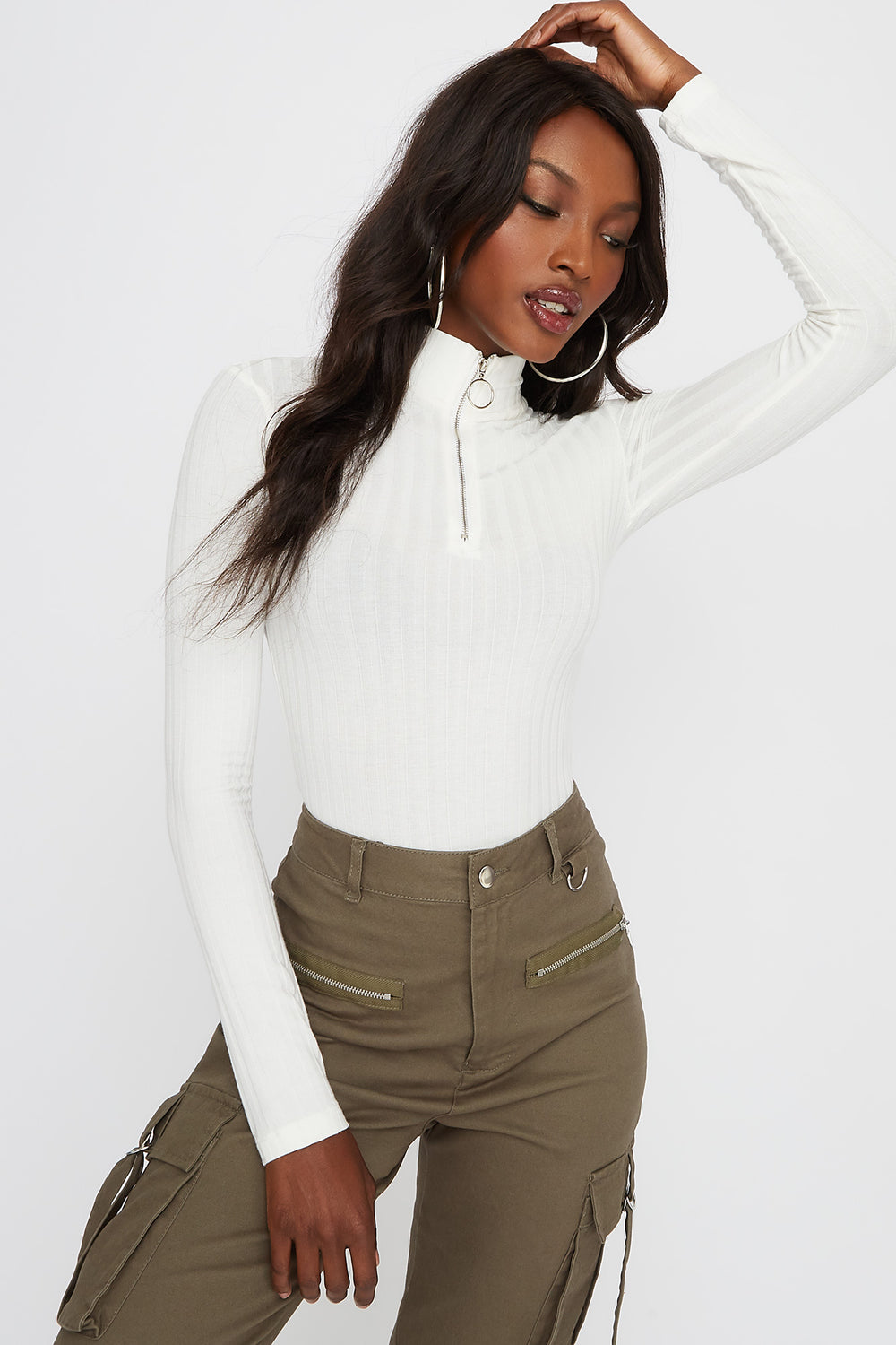 Ribbed Zip Mock Neck Long Sleeve Bodysuit Ivory