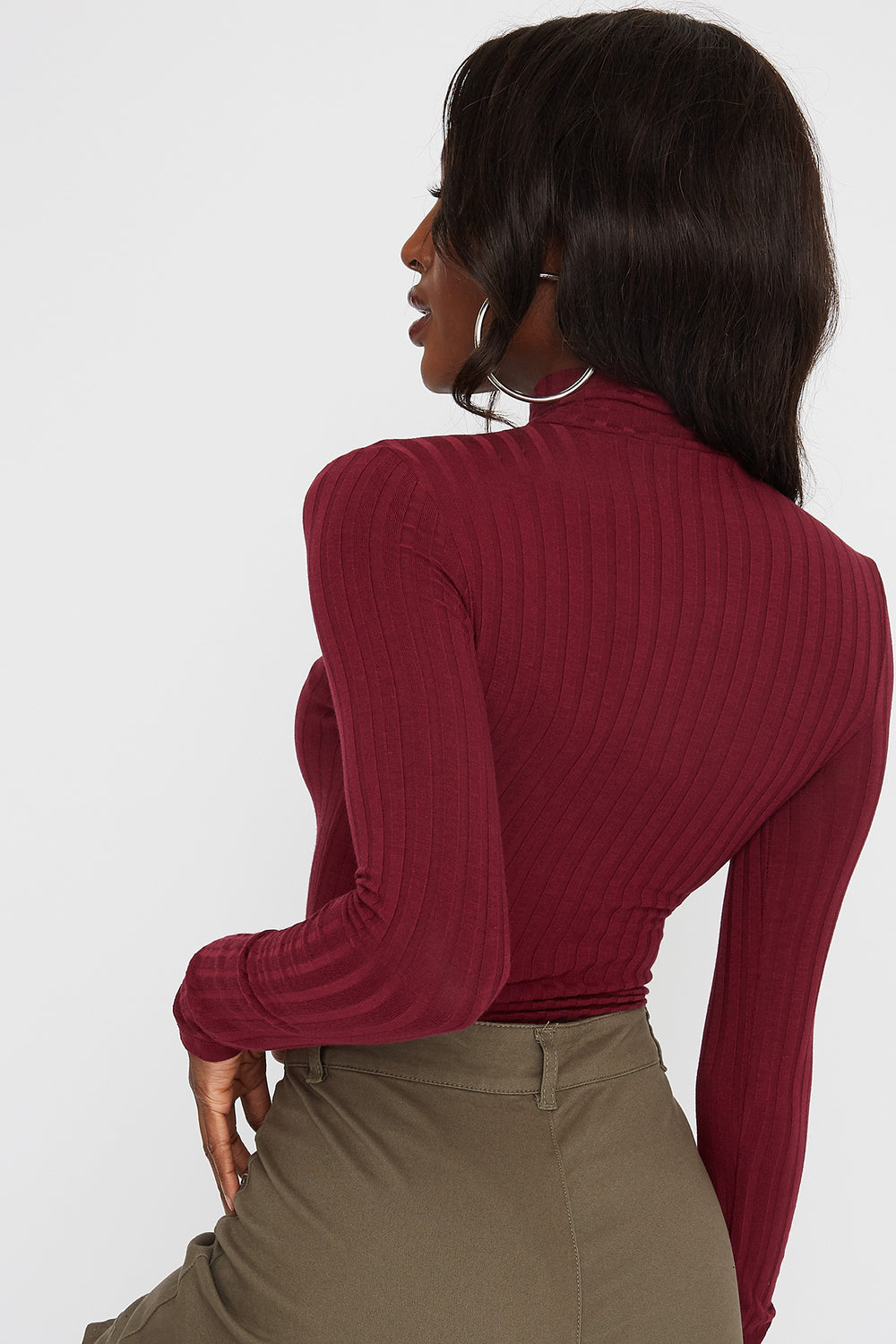 Ribbed Zip Mock Neck Long Sleeve Bodysuit Burgundy