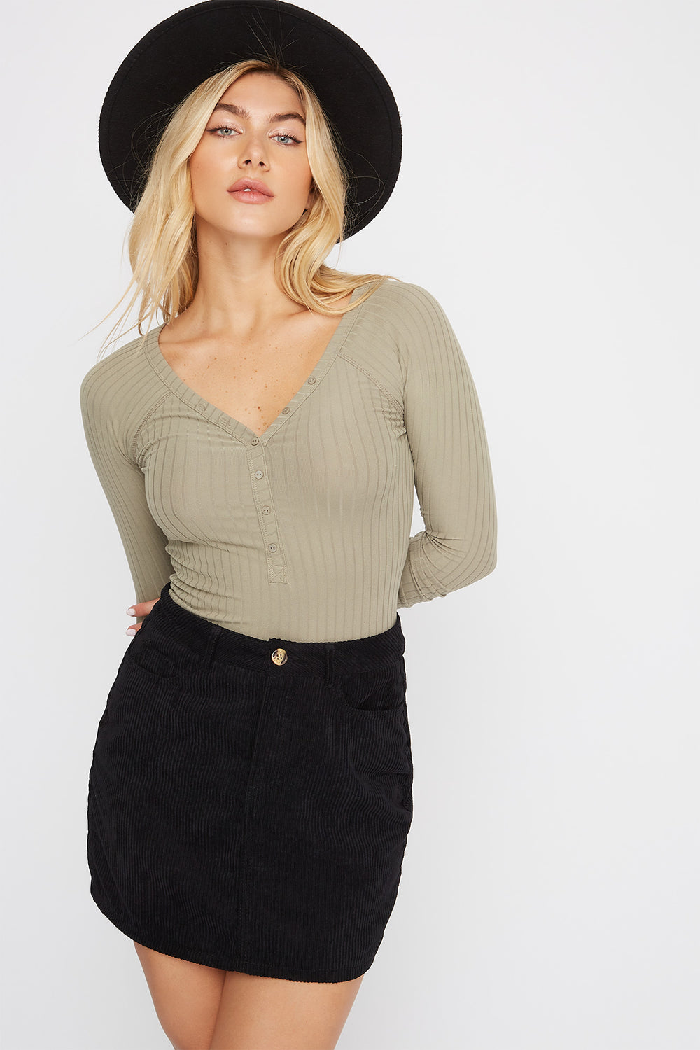Ribbed Button-Up Long Sleeve Bodysuit Jade