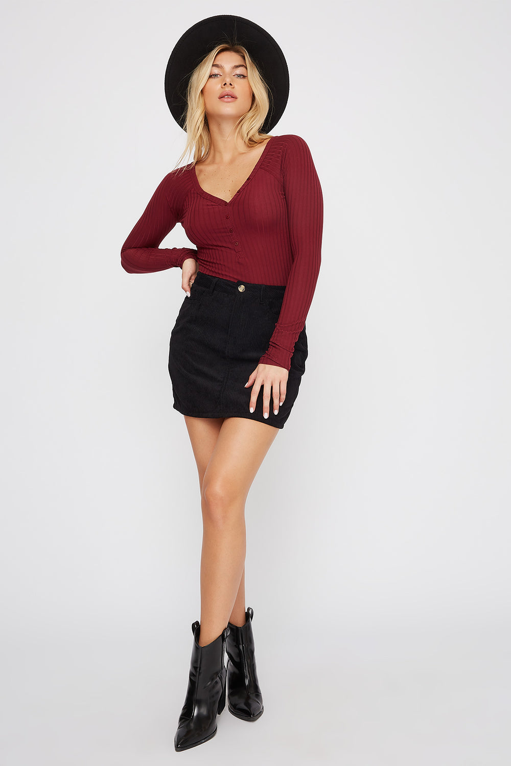 Ribbed Button-Up Long Sleeve Bodysuit Dark Red