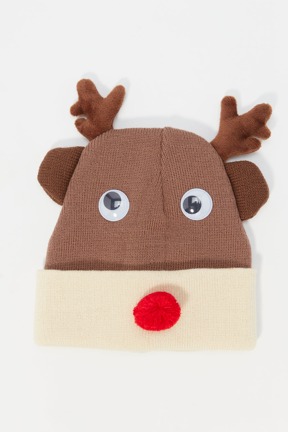 Ugly Christmas 3D Reindeer Beanie Brown