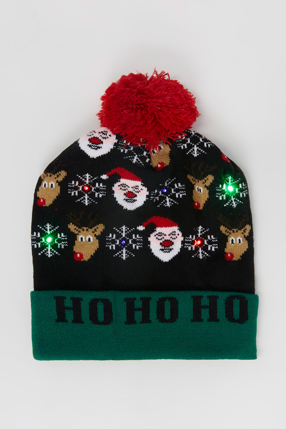Light-Up Graphic Ho Ho Ho Ugly Christmas Beanie Green