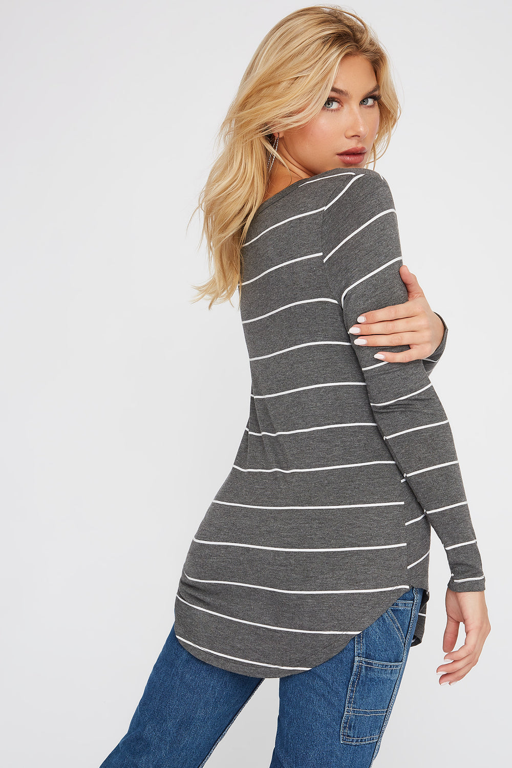 Basic V-Neck Striped Long Sleeve Heather Grey