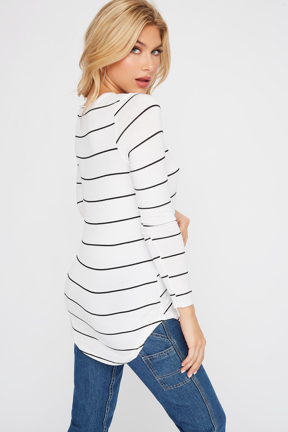 Basic V-Neck Striped Long Sleeve White