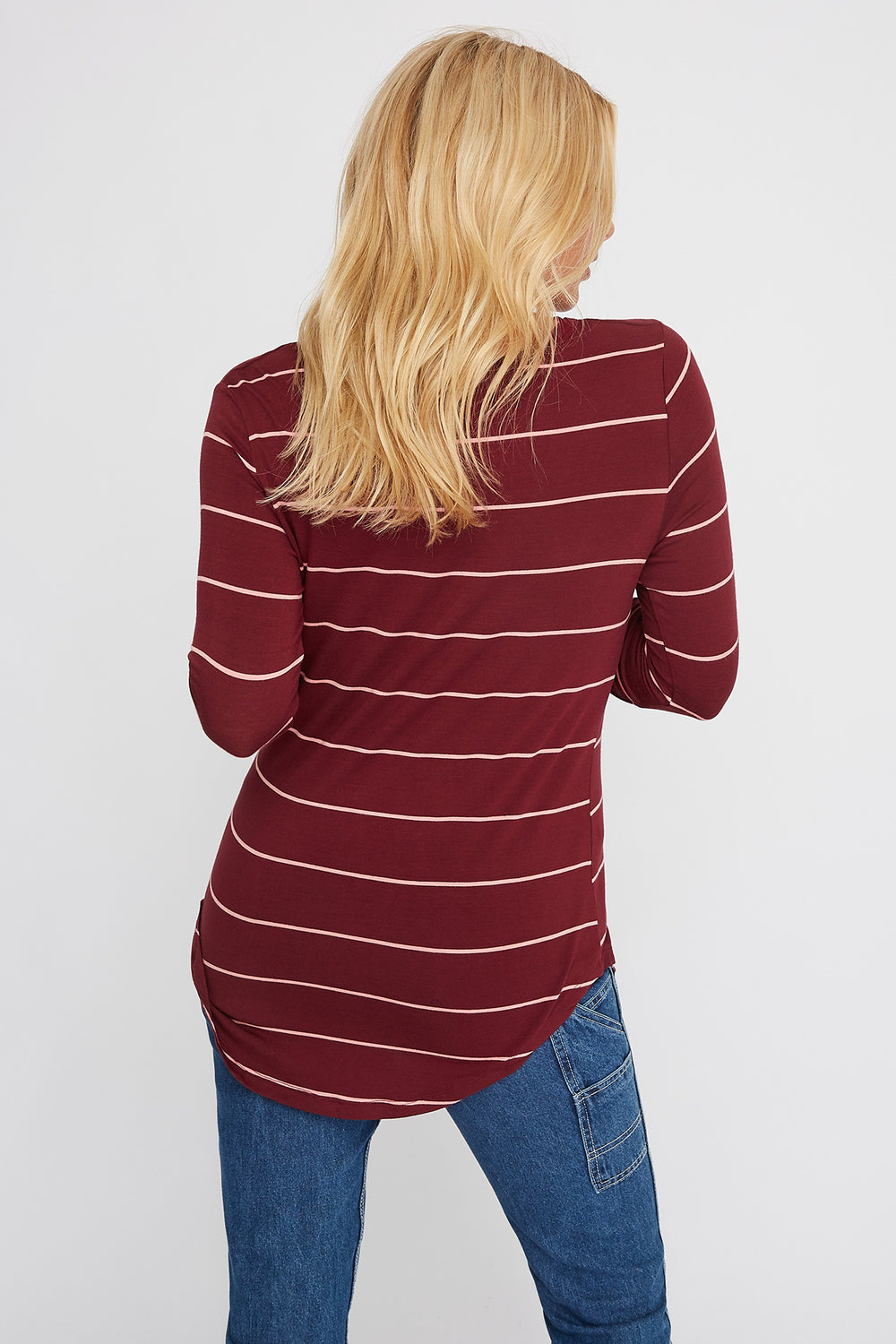 Basic V-Neck Striped Long Sleeve Wine