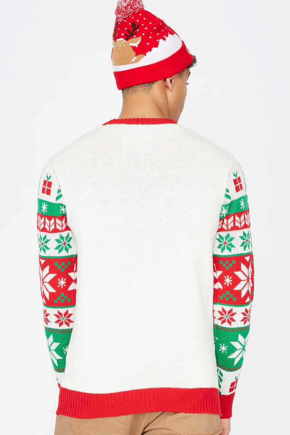 Merry Christmas Reindeer Ugly Christmas Sweater White