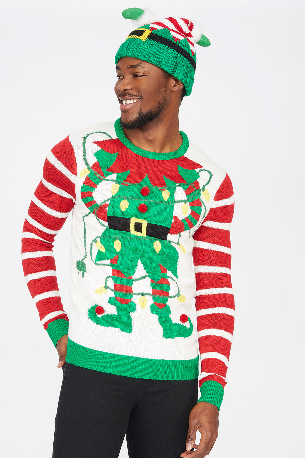 Light-Up Elf Graphic Ugly Christmas Sweater White