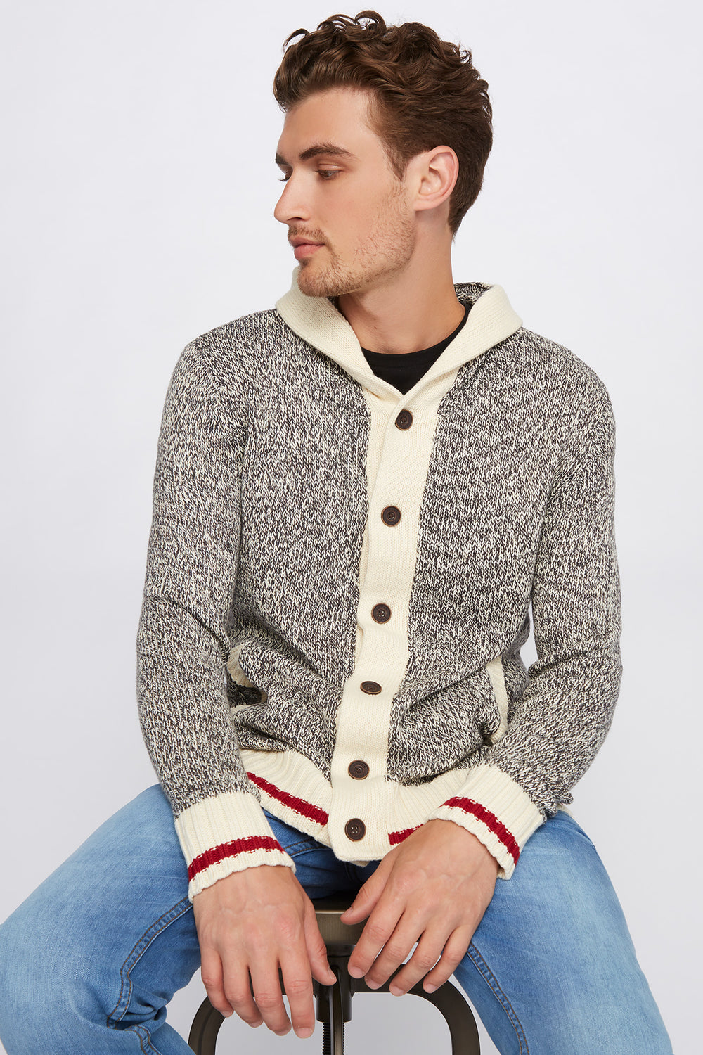 Cabin Fever Button-Up Hooded Cardigan Charcoal
