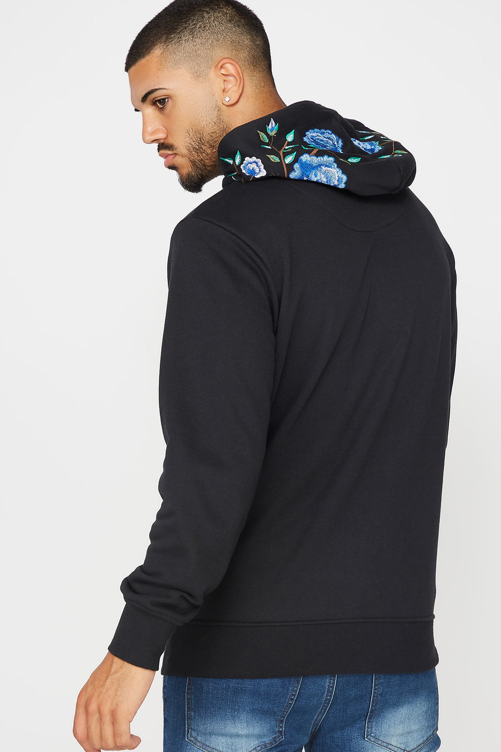 Floral Embroidered Pullover Hoodie Black
