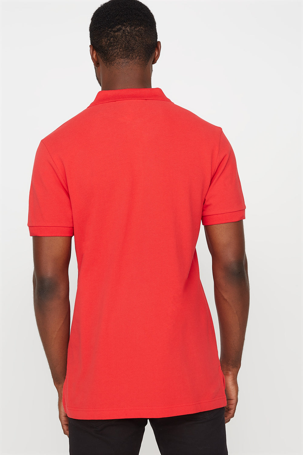 T-shirt polo uni brodé Rouge