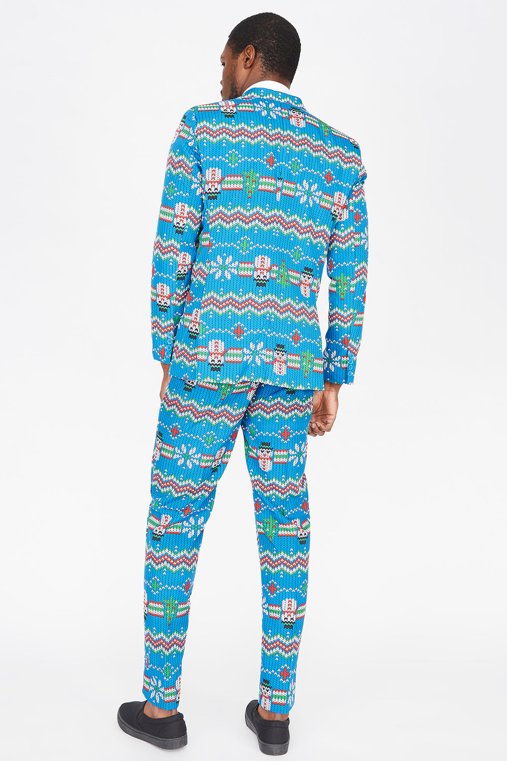 3-Piece Ugly Christmas Snowman Fair Isle Printed Suit Blue