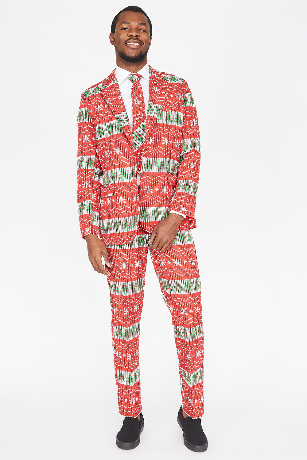 3-Piece Ugly Christmas Tree Fair Isle Printed Suit Red