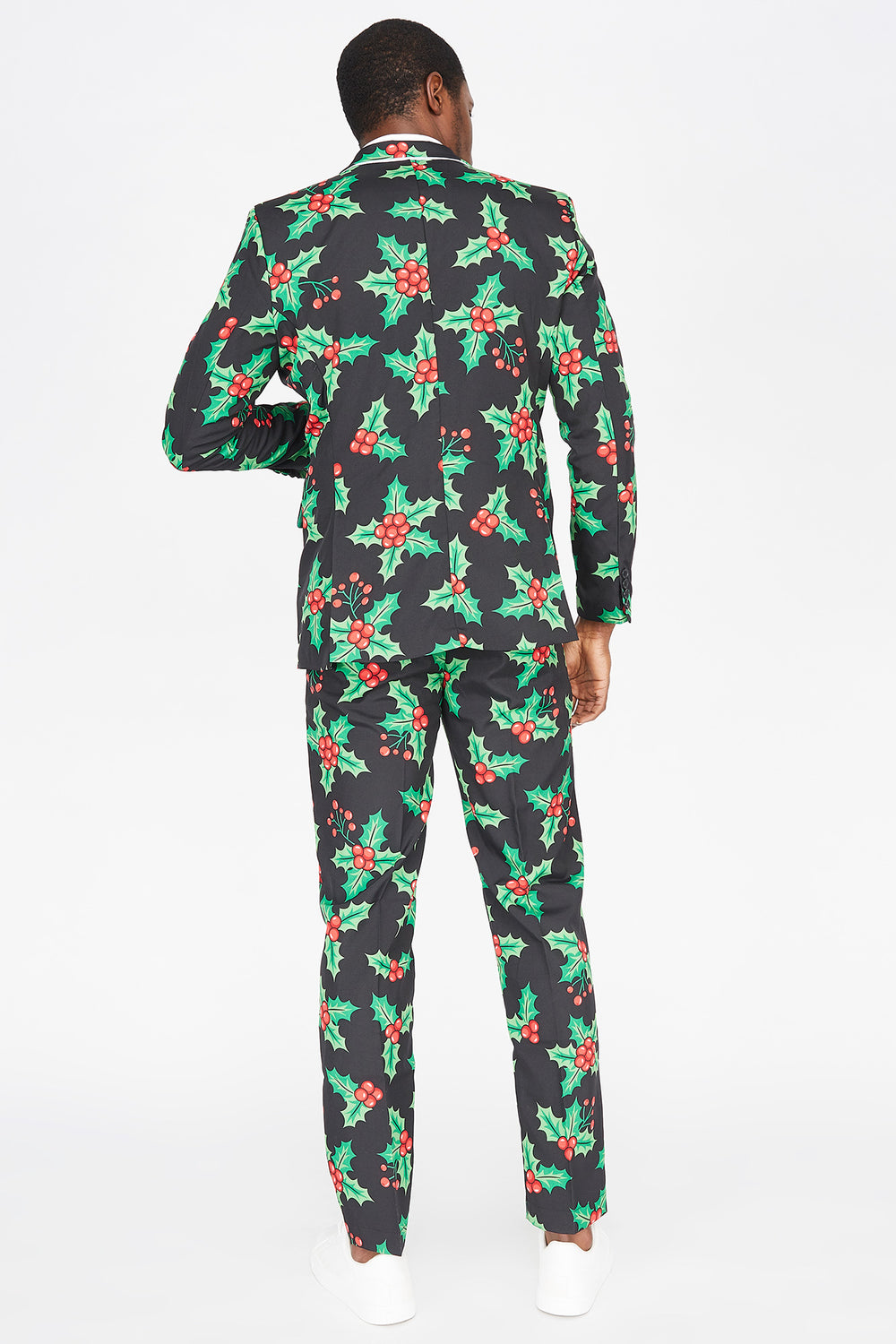 3-Piece Ugly Christmas Holly Printed Suit Black