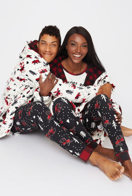 Unisex Fammy Jammies Plaid Moose Sherpa Robe