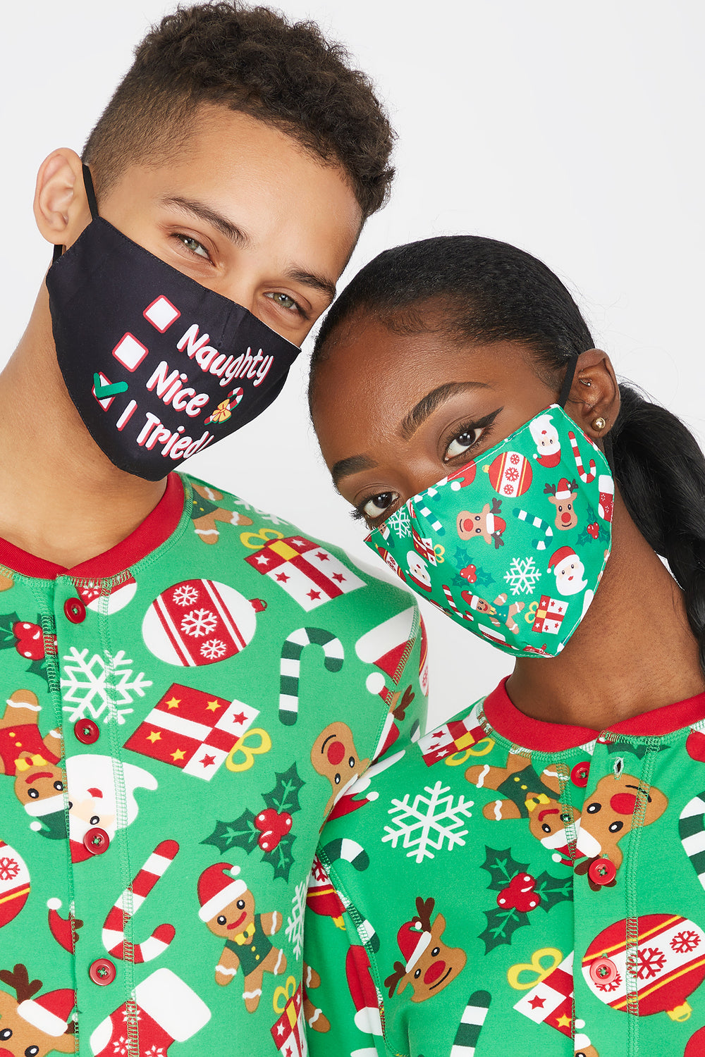 Fammy Jammies Washable & Reusable Christmas Printed I Tried Face Masks (2 Pack) Black with White