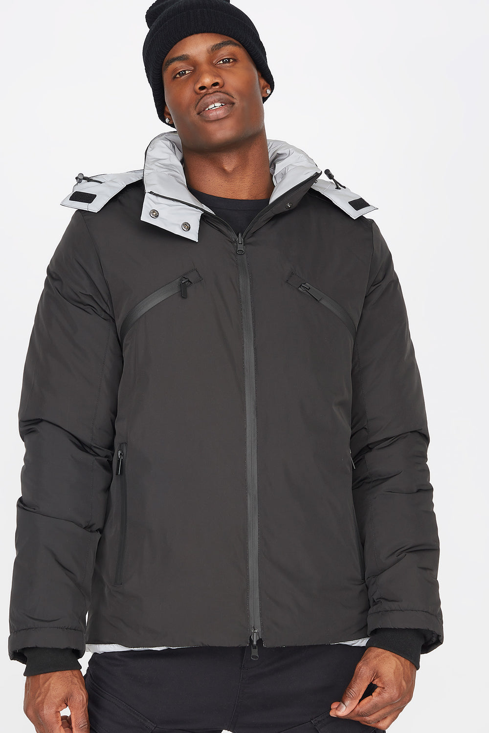 Reversible Hooded Puffer Jacket Silver