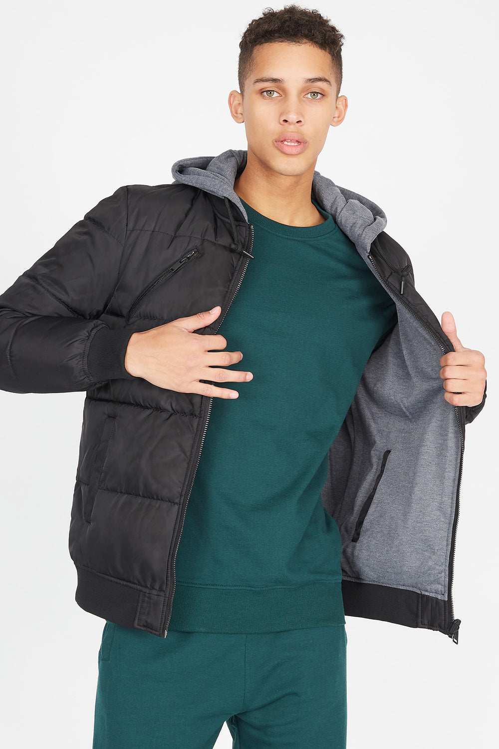 Reversible Puffer Bomber Jacket Black