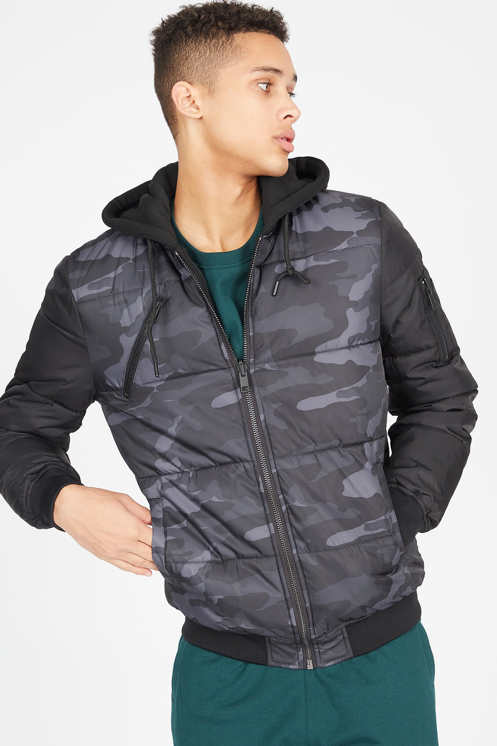 Reversible Camo Puffer Bomber Jacket Black with White