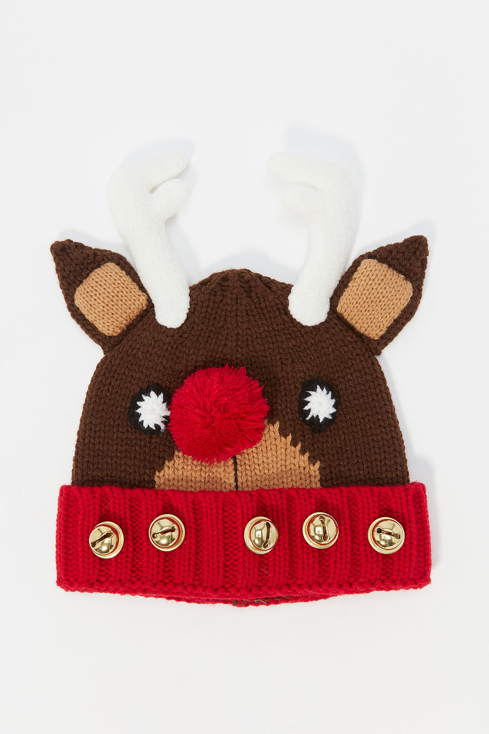 Ugly Christmas 3D Reindeer Bell Beanie Brown