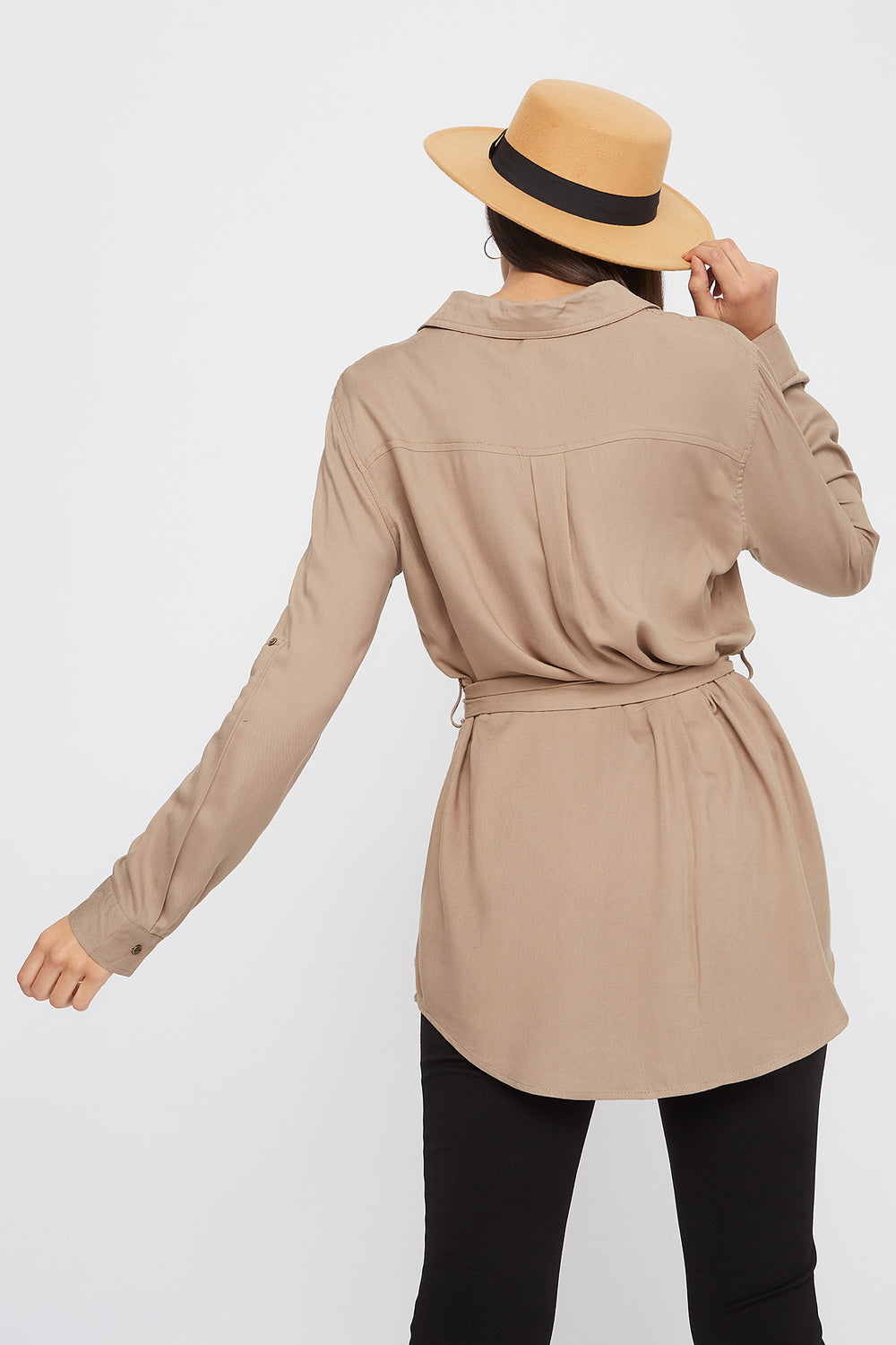 Utility Self Belted Shirt Taupe