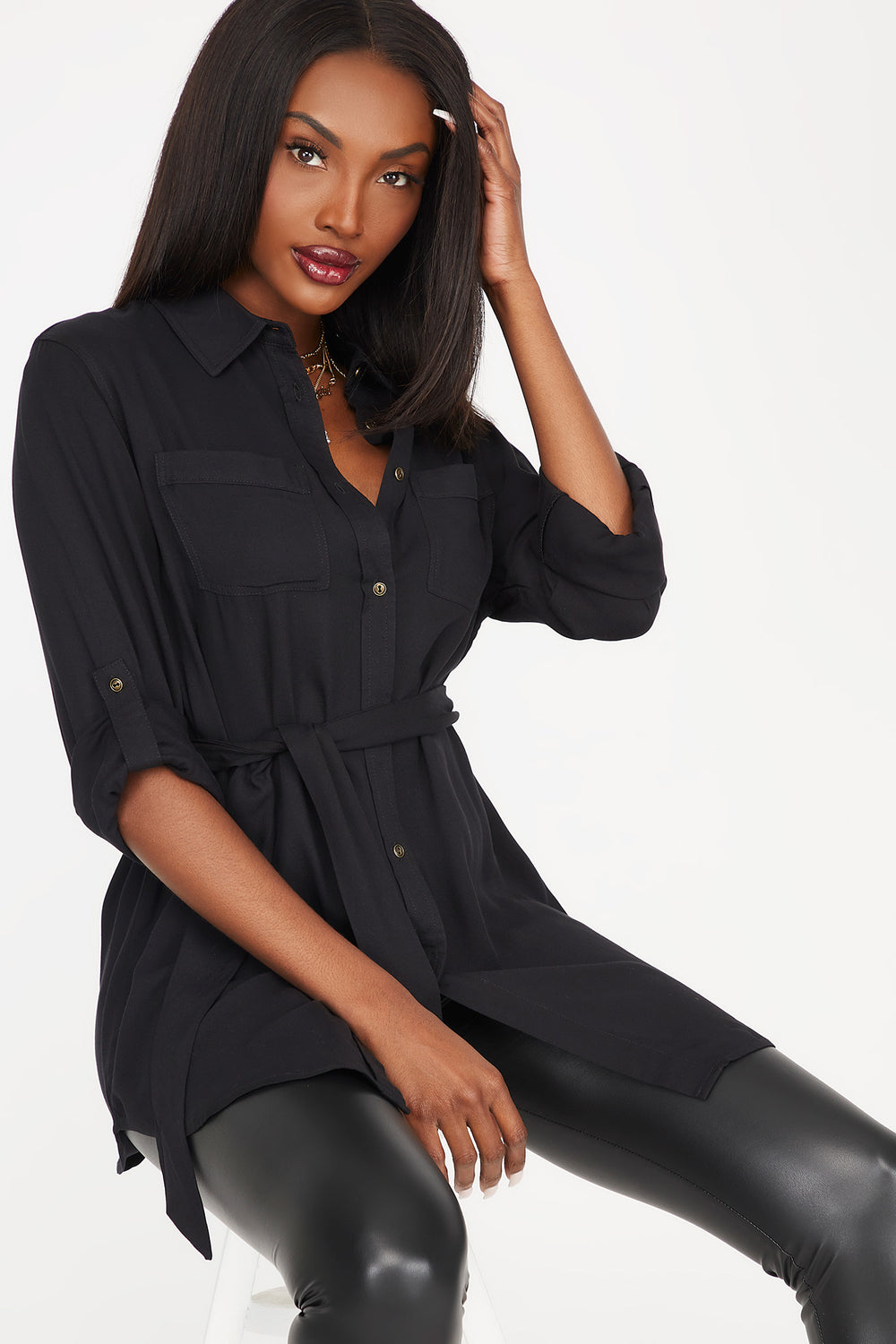 Button-Up Self-Tie Belted Roll-Tab Long Sleeve Shirt Black