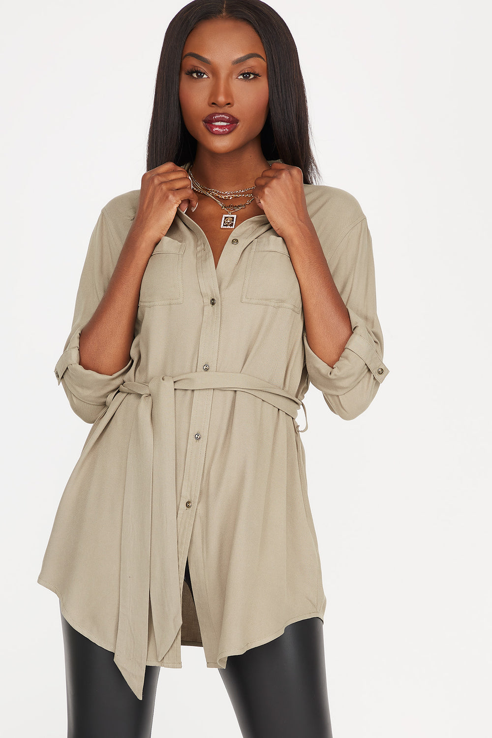 Button-Up Self-Tie Belted Roll-Tab Long Sleeve Shirt Jade