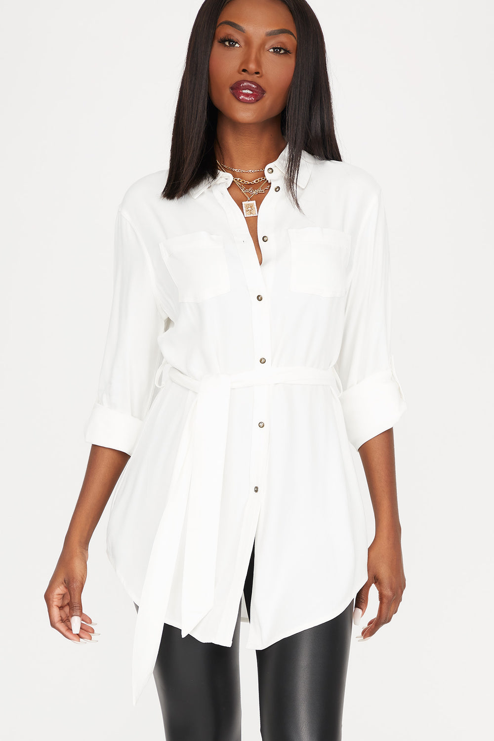 Button-Up Self-Tie Belted Roll-Tab Long Sleeve Shirt Ivory