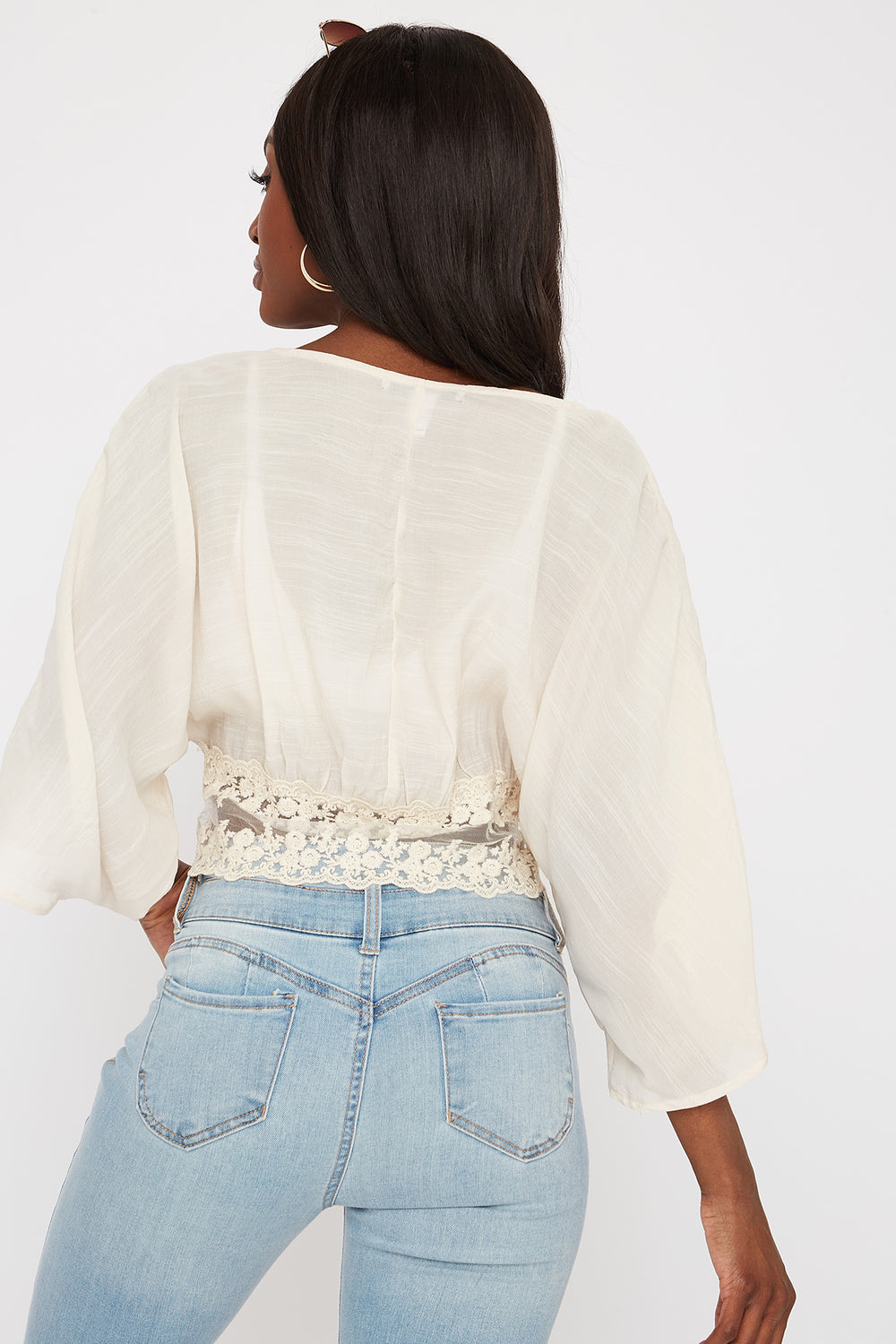 Cropped Crochet Mesh Trim Self Tie Kimono Natural