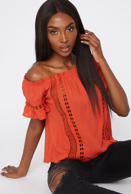 Off The Shoulder Crochet Frill Hem Shirt