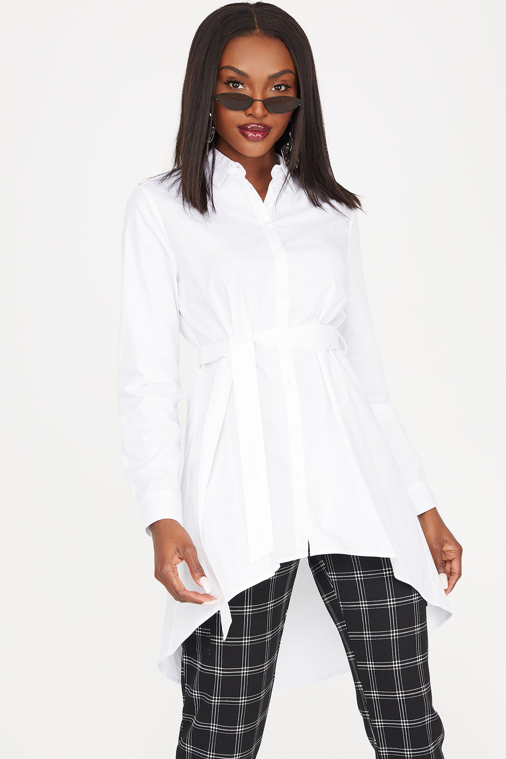 Button-Up Self-Tie Belted High-Low Long Sleeve Shirt White