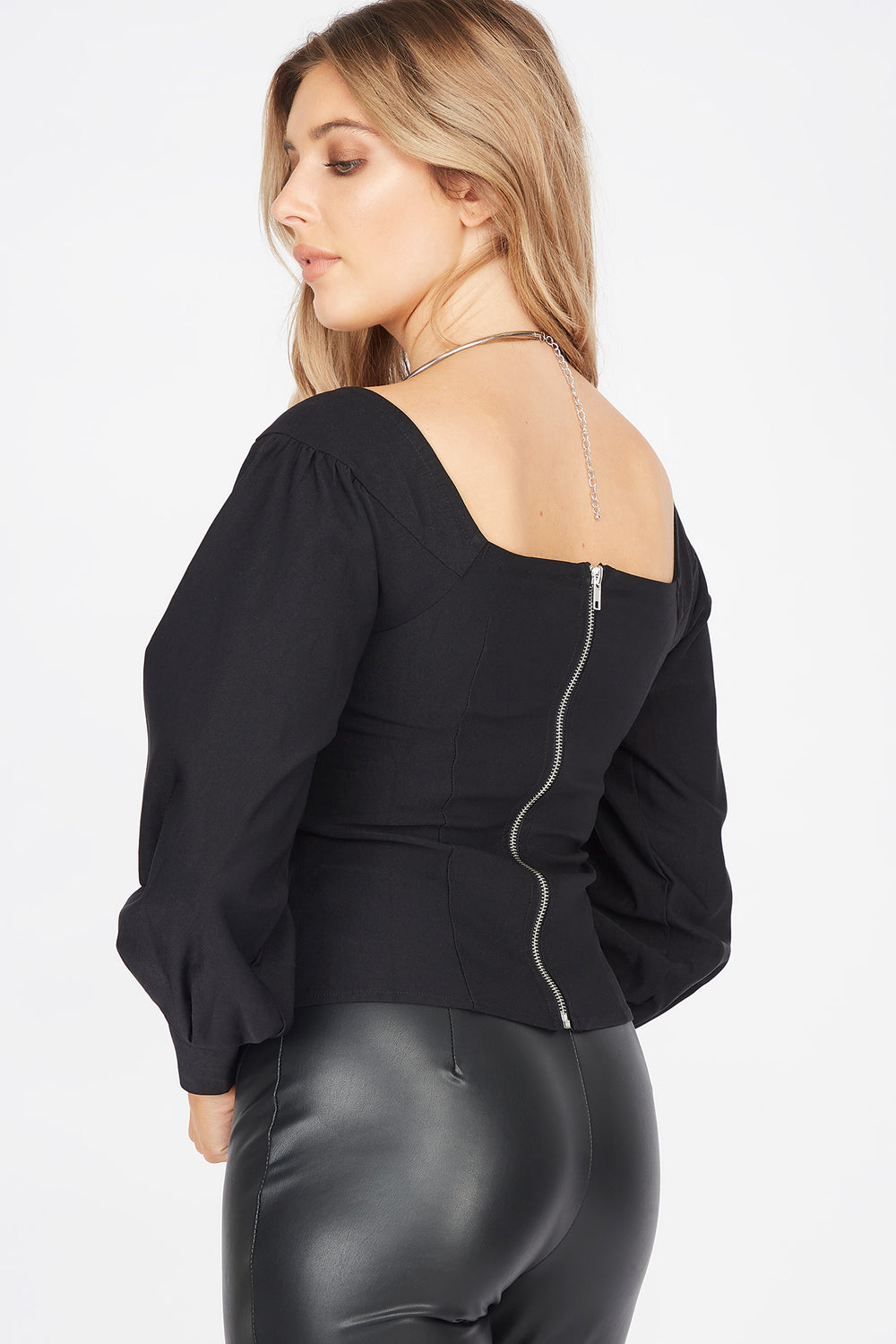 Square Neck Long Balloon Sleeve Corset Blouse Black