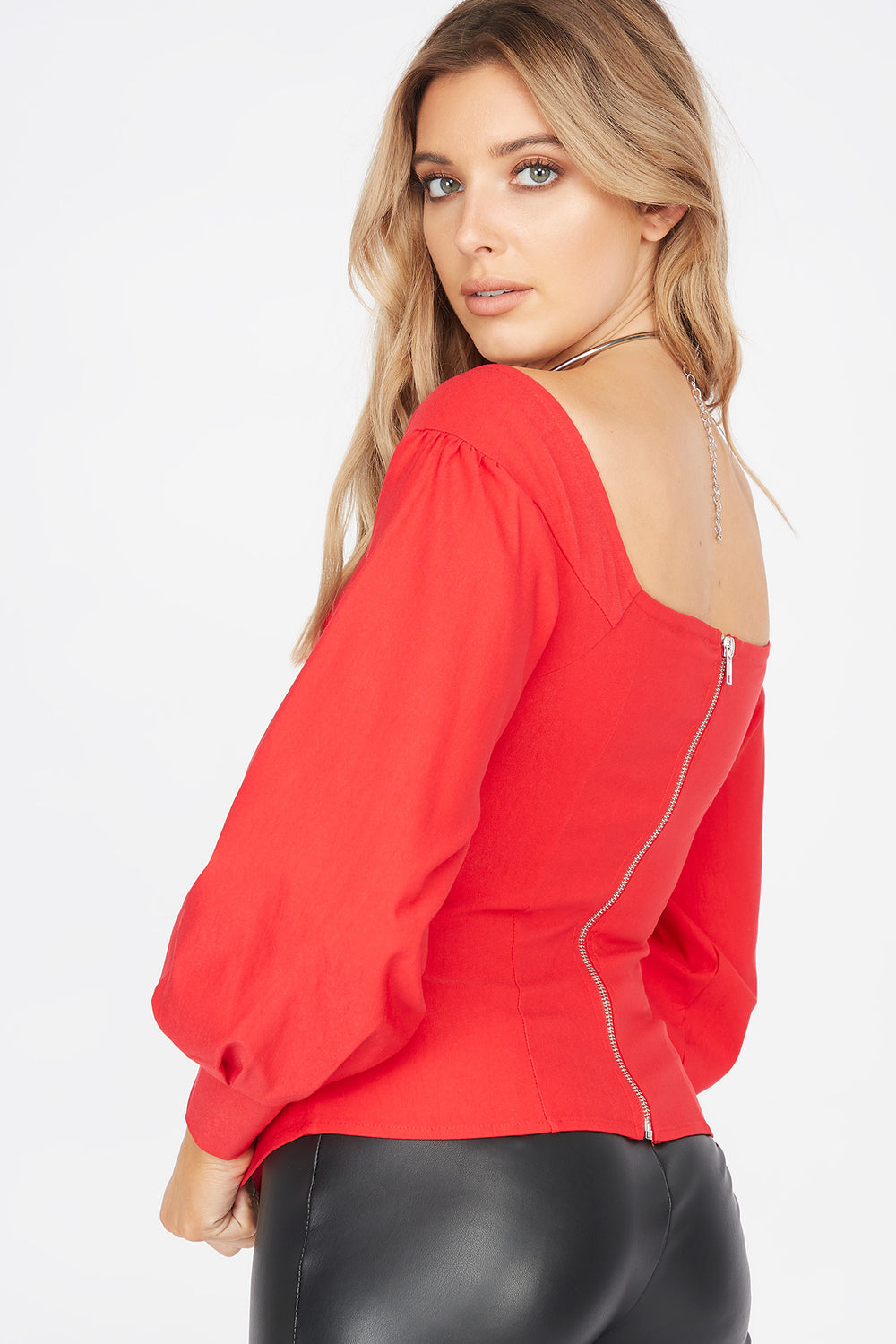 Square Neck Long Balloon Sleeve Corset Blouse Red