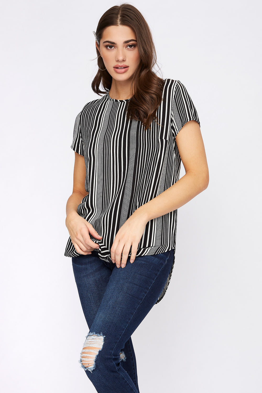 Striped Crepe High-Low Zipper Back Blouse Black