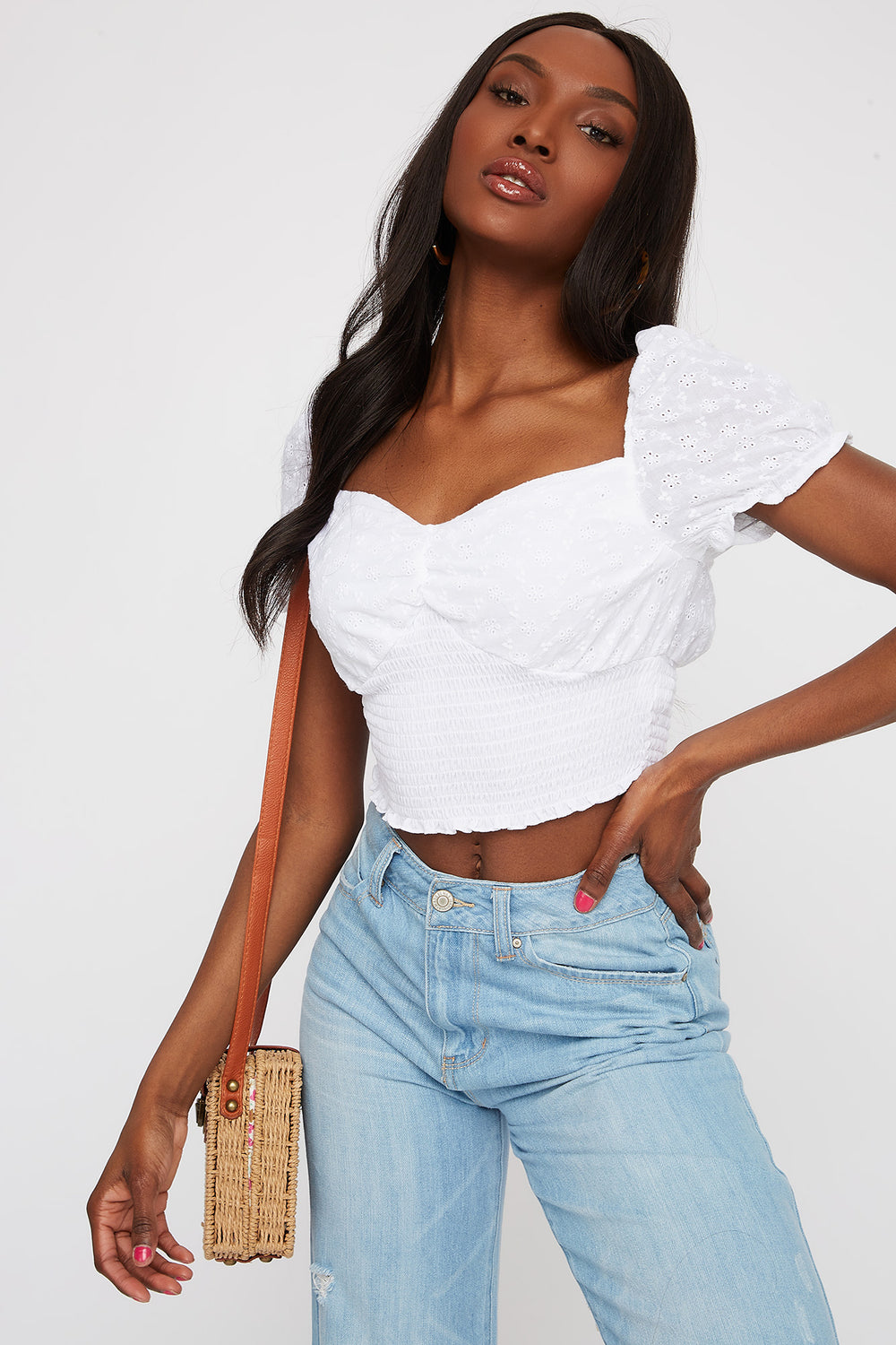Cropped Smocked Eyelet Peasant Top White