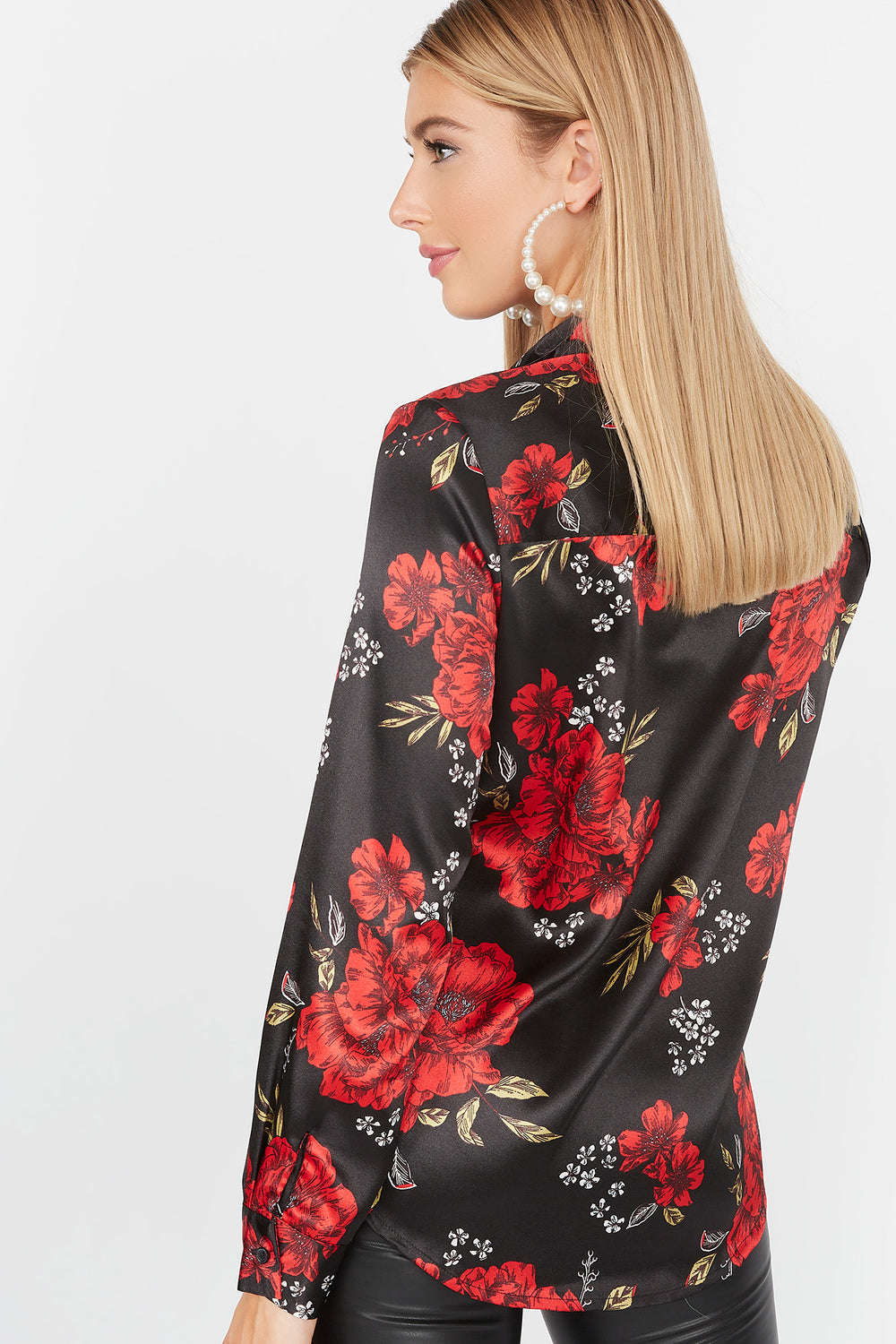 Printed Satin Button-Up Blouse Solid Black
