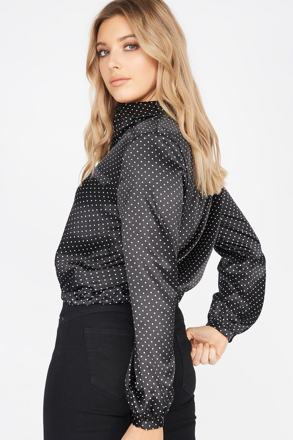 Satin Polka Dot Button-Up Self-Tie Cinched Hem Blouse Solid Black