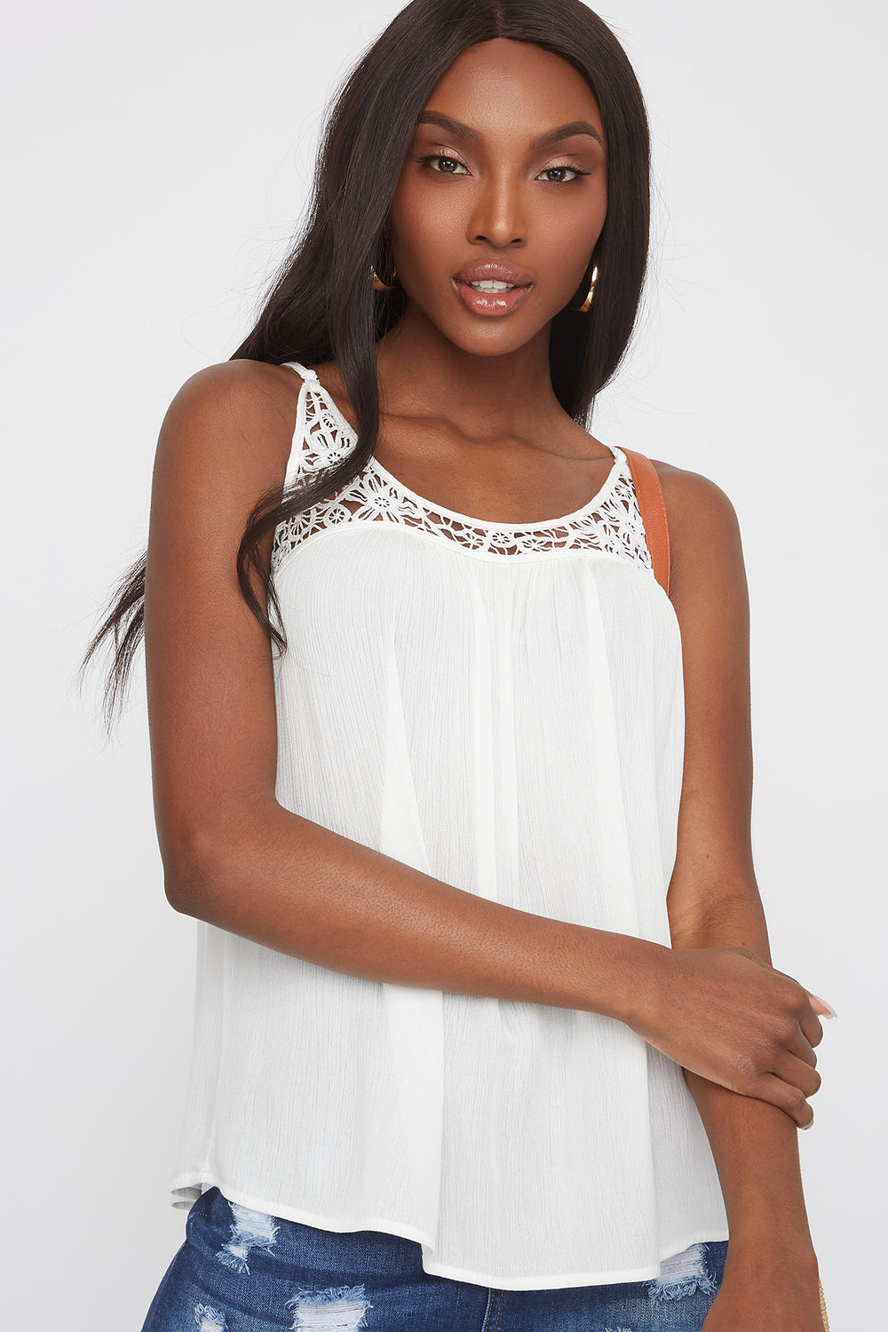 Scoop Neck Floral Crochet Cami Off White
