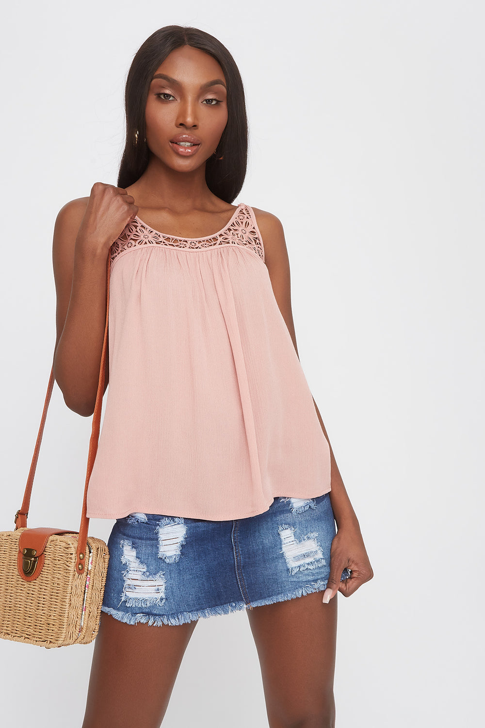 Scoop Neck Floral Crochet Cami Mauve