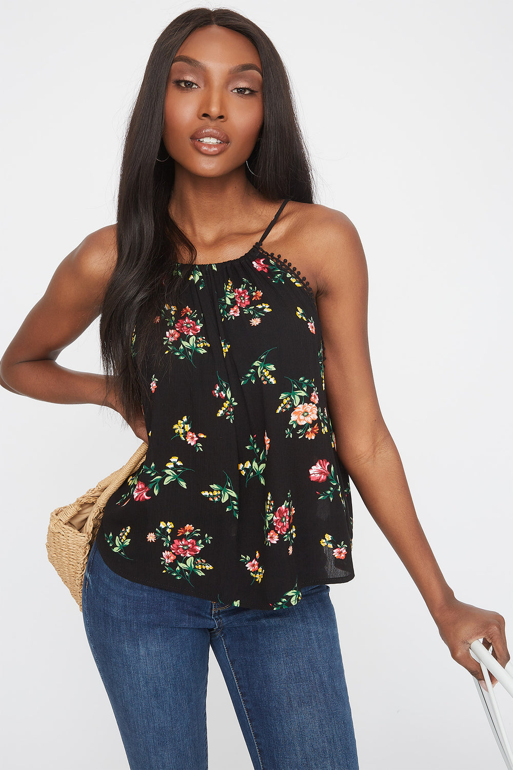 Floral Halter Neck Crochet Trim Shirt Black