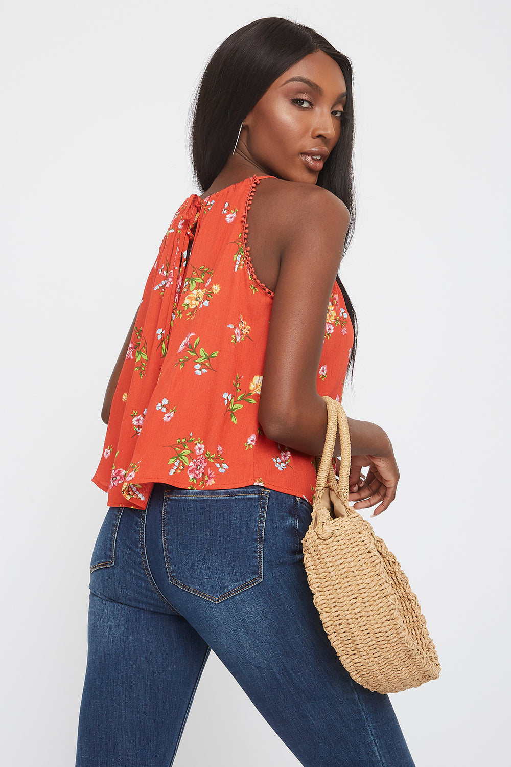 Floral Halter Neck Crochet Trim Shirt Rust