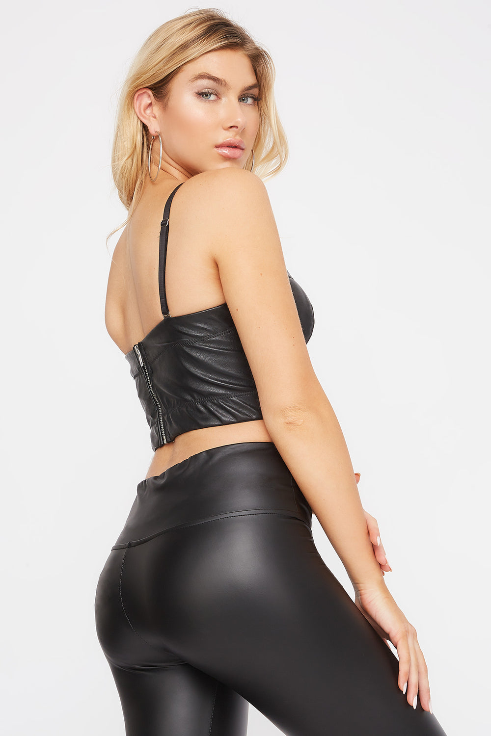 Faux-Leather Bustier Black