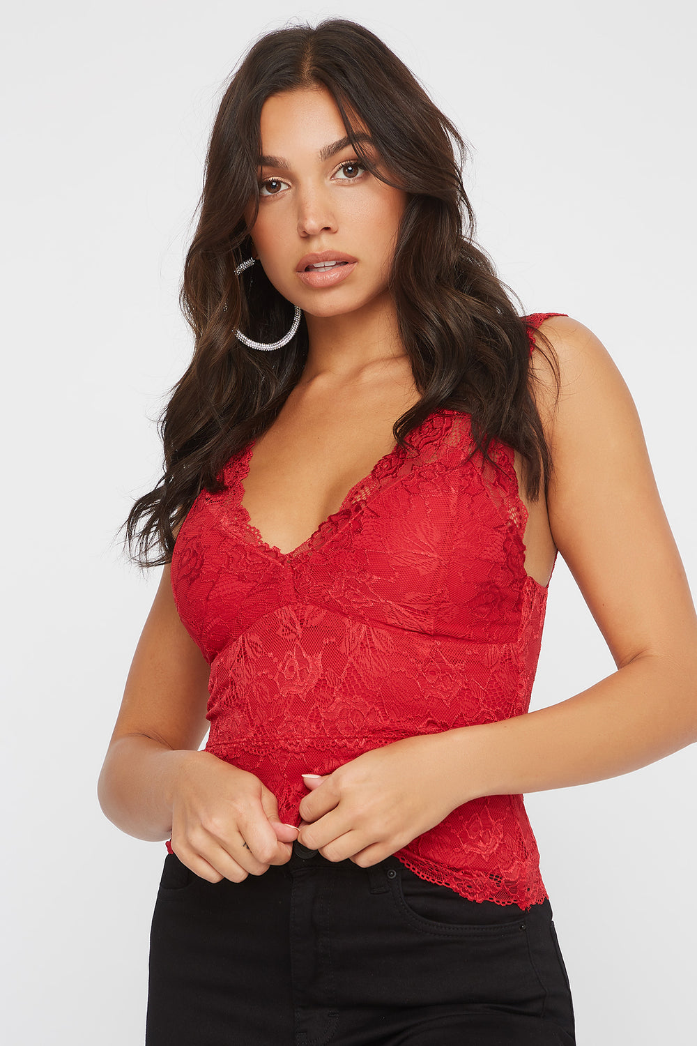 Lace Scallop Padded V-Neck Tank Red