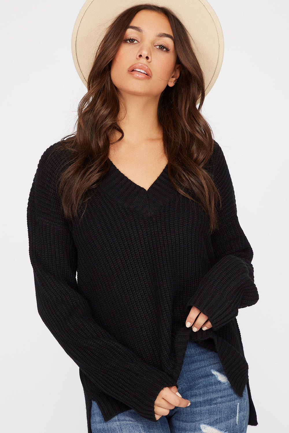 V-Neck Tunic Sweater Black