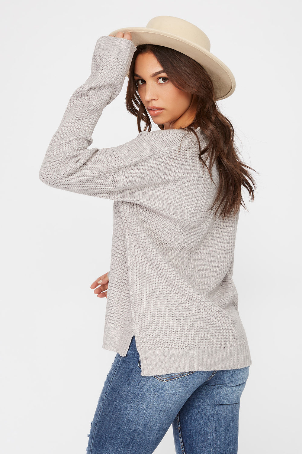 V-Neck Tunic Sweater Heather Grey