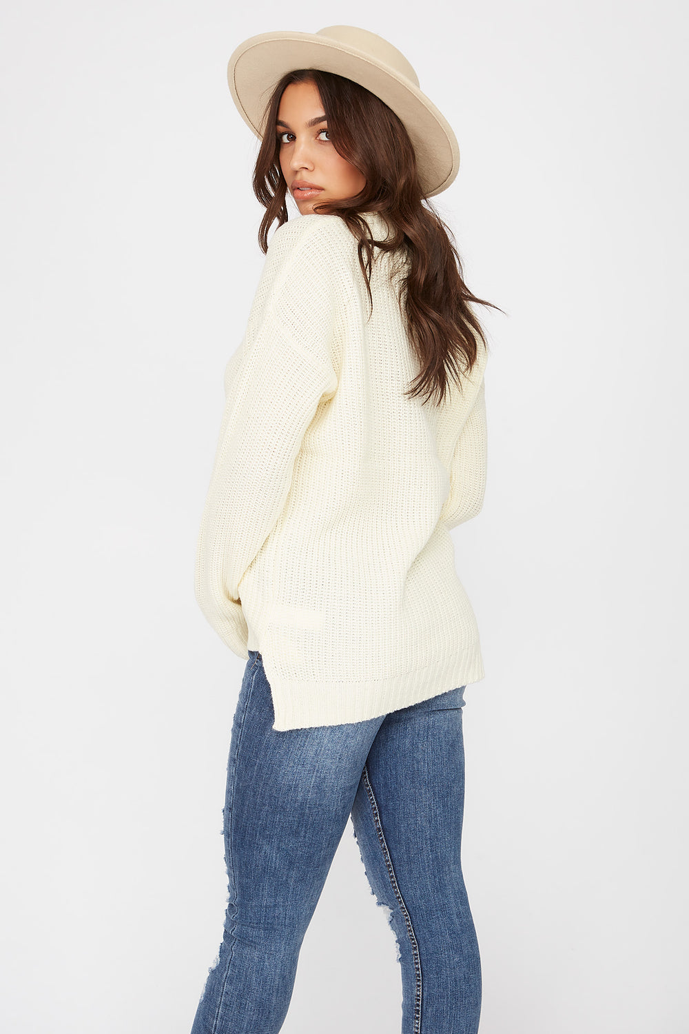 V-Neck Tunic Sweater White