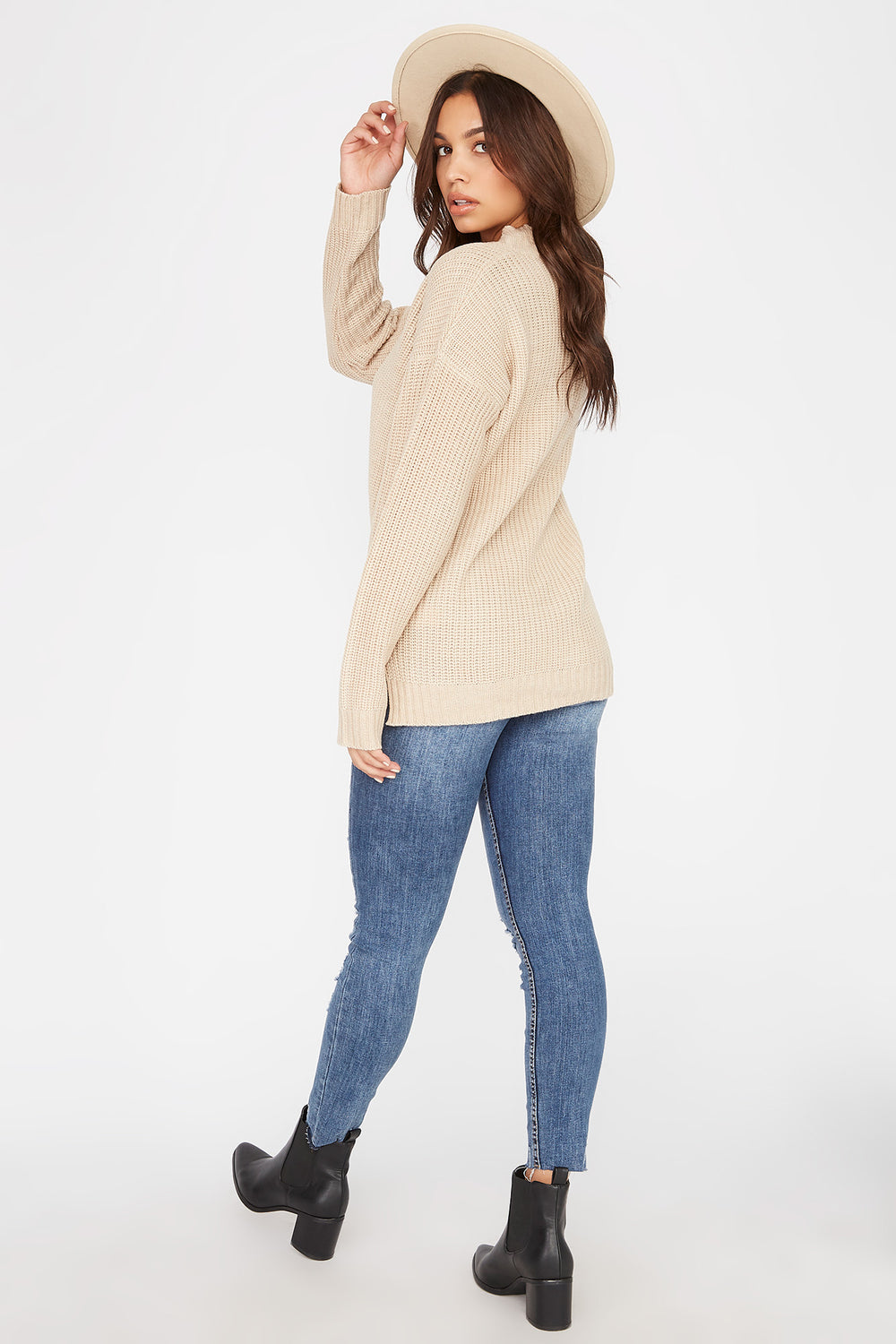 V-Neck Tunic Sweater Oatmeal