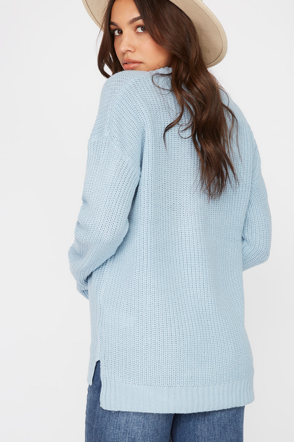 V-Neck Tunic Sweater Baby Blue
