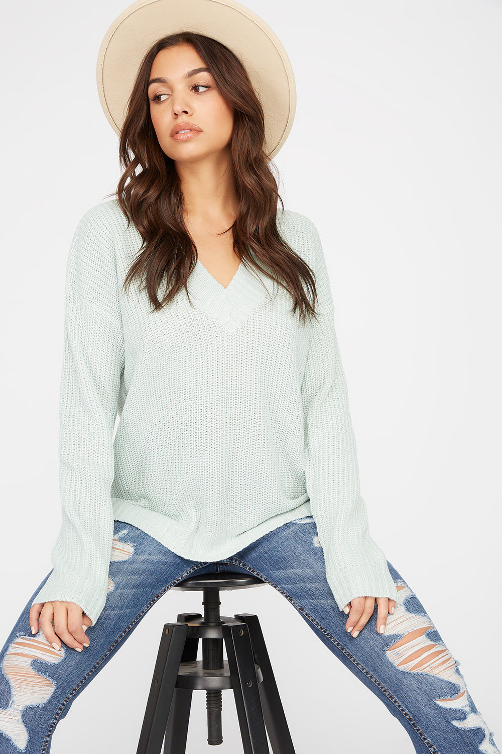V-Neck Tunic Sweater Sage