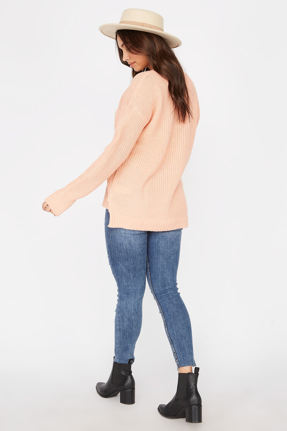 V-Neck Tunic Sweater Coral
